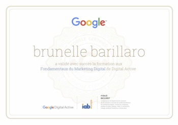 Brunelle Barillaro attestation formation aux Fondamentaux du Marketing Digital par Google